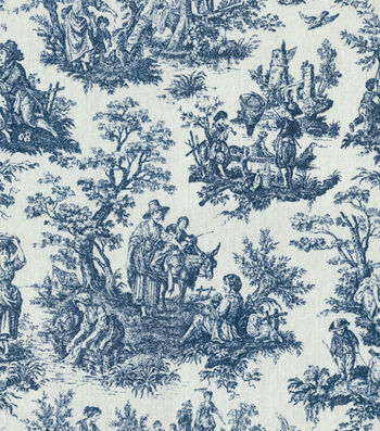 """Waverly Upholstery Fabric 54""""-Rustic Toile Navy"""