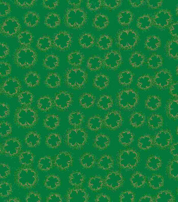 St. Patrick's Day Fabric 43''-Shamrock Outline Metallic