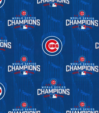 """Chicago Cubs Cotton Fabric 44""""-World Series Championship"""
