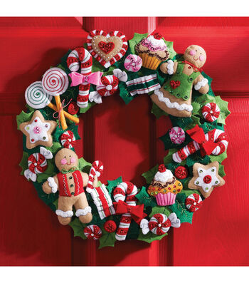 Bucilla Cookies & Candy Wreath Felt Applique Kit