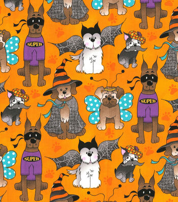 "Halloween Cotton Fabric 44""-Dog Costume Party"