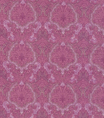 "Vintage Cotton Fabric 43""-Tonal Purple Damask"