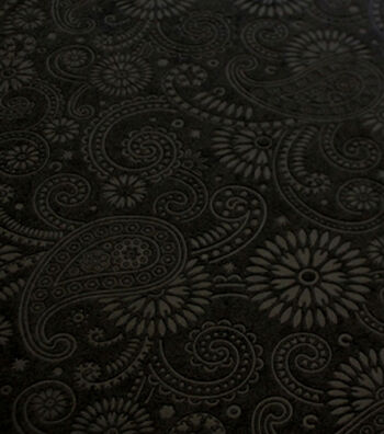 Suedecloth Fabric - Embossed Paisley Black Poly Aloba