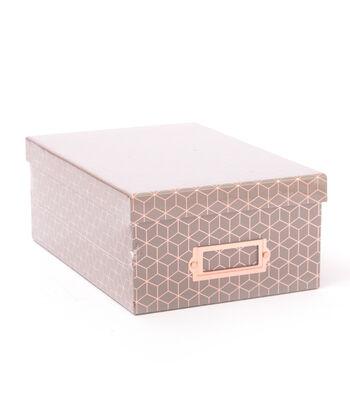 DCWV Photo Storage Box-Rose Gold Foil Geometric on Gray