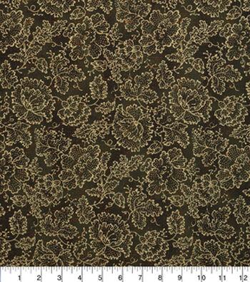 "Harvest Cotton Fabric 43""-Gold Flowers"