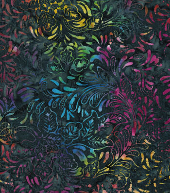 "Legacy Studio™ Batik Cotton Fabric 43""-Multi Floral Navy"