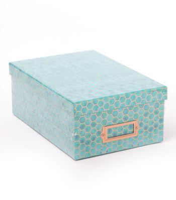 DCWV Photo Storage Box-Copper Foil Hexagons on Blue