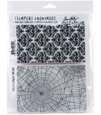 Stampers Anonymous® Tim Holtz® 2 pk Cling Stamps-Skulls & Cobwebs