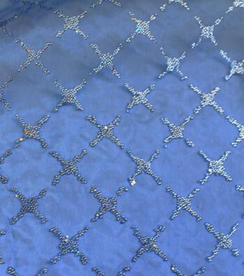 "All That Glitters Organza Fabric 58""-Diamond Caviar Light Royal"