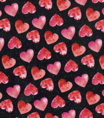 Valentine's Day Glitter Fabric 43''-Black with Watercolor Hearts