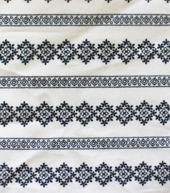 """Linen-Look Embroidered Fabric 52""""-Stripe Floral"""