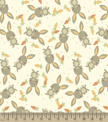 Bunny Rabbits and Carrots Print Fabric