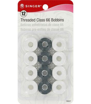 12 Threaded Class 66 Bobbins (Black & White)
