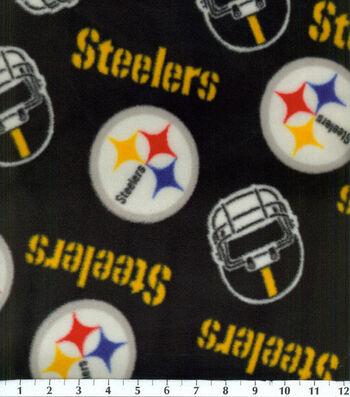 """Pittsburgh Steelers Fleece Fabric 58""""-Tossed Block"""