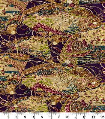"""Asian Inspired Cotton Fabric 44""""-Intricate Paper Fans Met"""