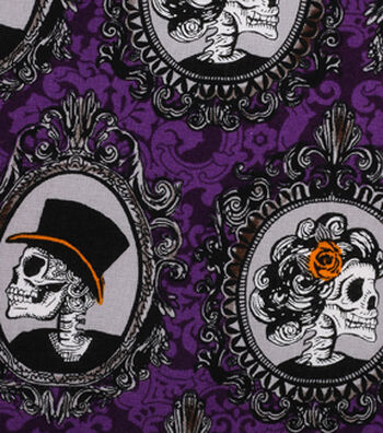 "Halloween Cotton Fabric 43""-Skeleton Portraits"