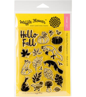 Waffle Flower Crafts 21 pk Clear Stamps 4''x6''-Hello Fall