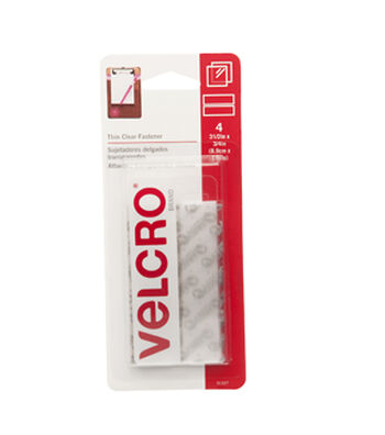 VELCRO® Brand  Thin Clear Fasteners 3 1/2in x 3/4in strips. 4 ct.