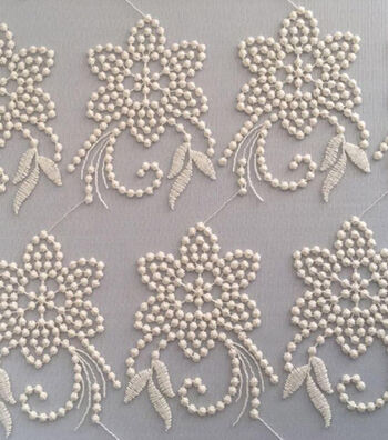 "Spring Sheen Mesh Embroidery Fabric 55""-Ivory"