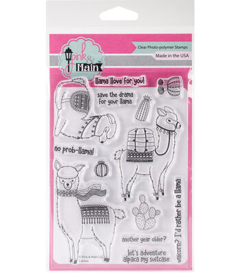 "Pink & Main Clear Stamps 4""X6""-Llamas"