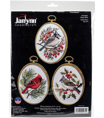 """Winter Birds Embroidery Kit Set Of 3-3""""X4"""" Stitched In Floss"""