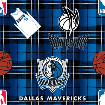 "Dallas Mavericks Fleece Fabric 58""-Plaid"