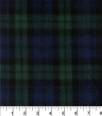 """Blizzard Fleece Fabric 58""""-Navy And Green Plaid"""