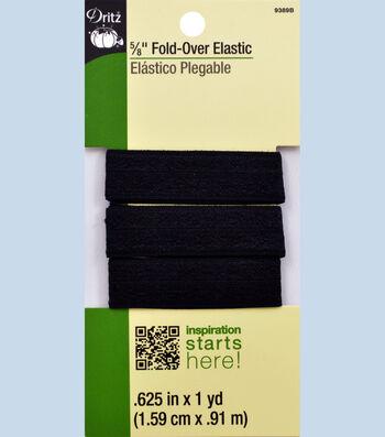 "Dritz 5/8""  Foldover Elastic Black 1Yd"