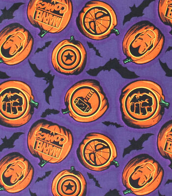 Halloween Cotton Fabric 44''-Marvel & Halloween on Purple