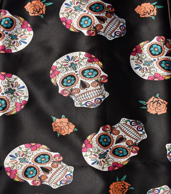 "The Witching Hour Costume Fabric 43""-Multi Colored Day Of The Dead"