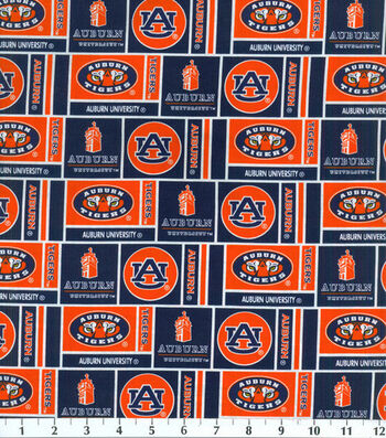 "Auburn University Tigers Cotton Fabric 43""-Herringbone"