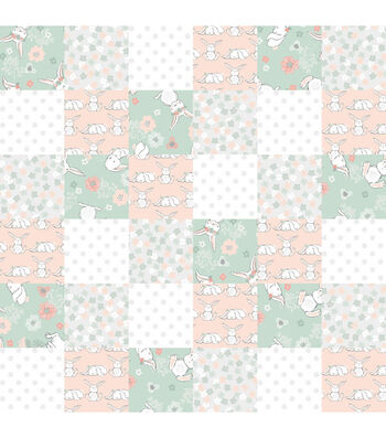 """Nursery Flannel Fabric 44""""-Patch Quilt Bunny"""