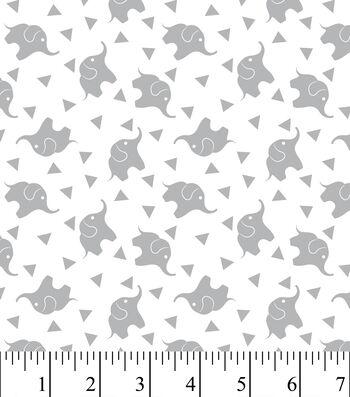 """Nursery Flannel Fabric 43""""-Elephant Confetti Gray"""