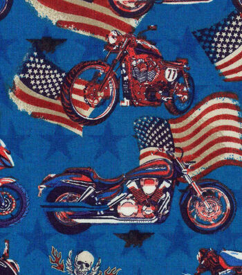 "Patriotic Cotton Fabric 43""-American Hot Rod"