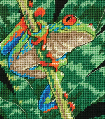 """Dimensions Red-Eyed Leaf Frog Mini Needlepoint Kit-5""""X5"""" Stitched In Thread"""