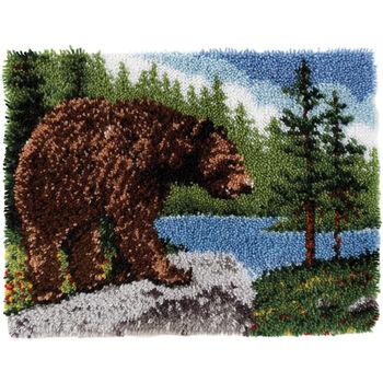"Wonderart Classic Latch Hook Kit 20""X30""-Grizzly Bear"