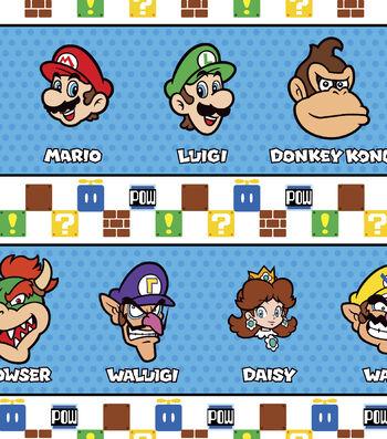 "Nintendo® Super Mario Cotton Fabric 43""-Character Stripe"
