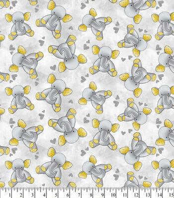 Nursery Flannel Fabric 43''-Gray Elephant