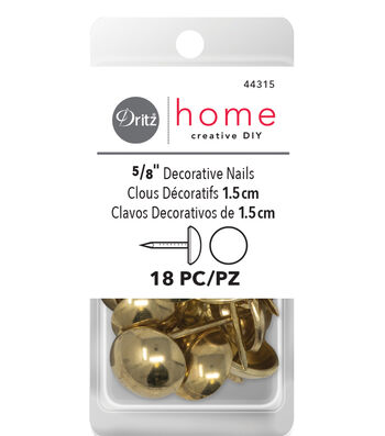Dritz Home 18ct Decorative Nails-Smooth Gold