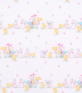 Easter Cotton Fabric 43''-Ditsy Bunny & Chicks