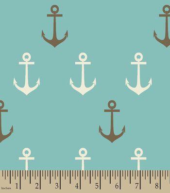 Teal Anchors Away Print Fabric