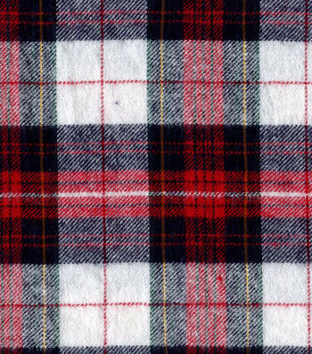 "Flannel Shirting Fabric 41""-Red Navy Gold Metallic"