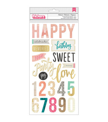 Crate Paper Maggie Holmes Confetti Celebrate Phrases Thickers Stickers