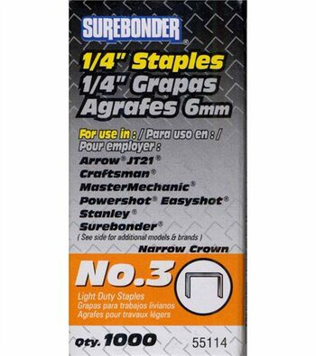 "Surebonder 1/4"" Easy Tackler Staples-1000PK"