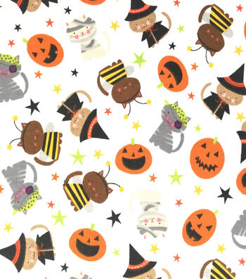 "Doodles Halloween Interlock Cotton Fabric 57""-Dressed Up Cats"