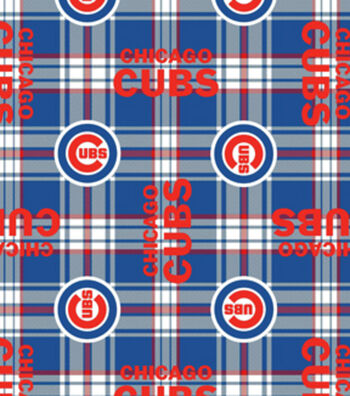 Chicago Cubs Fleece Fabric 58''-Plaid
