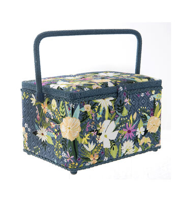 Large Rectangle Sewing Basket-Blue & White Floral