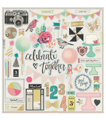 Crate Paper Maggie Holmes Confetti Accents Foiled Chipboard Stickers