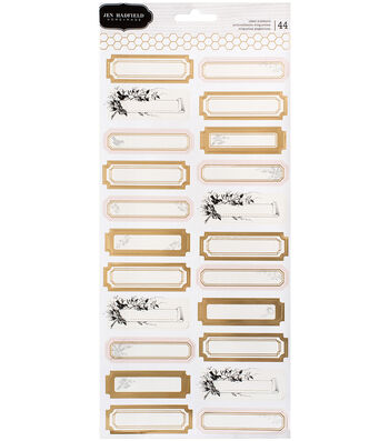 "Jen Hadfield Heart Of Home Label Stickers 5.5""X12""-Gold Foil Accents"