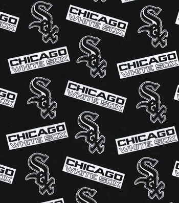 "Chicago White Sox Cotton Fabric 58""-Black"